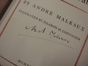 Malraux, Andre Days Of Wrath 1936 Book Signed Autograph