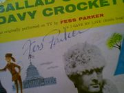 Parker, Fess Davy Crockett 45 RPM With Picture Cover Signed Autograph Theme Cover Photo Disney