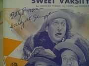 Ritz Brothers & Joan Davis Sweet Varsity Sue 1937 Sheet Music Signed Autograph Life Begins In College