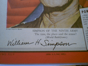 Simpson, General William Hood Time Magazine 1945 Signed Autograph World War Ii