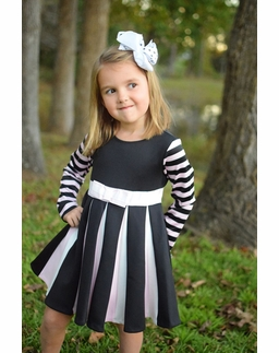 Biscotti Stripe Pink & Black Twirling Pleat Dress