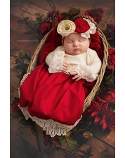 Haute Baby Tis the Season Holiday Red Baby Gown