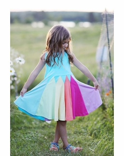 Lemon Loves Lime Blue Rainbow Twirl Dress