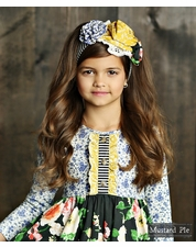 Mustard Pie English Blue Black Stripe Flora Head Band