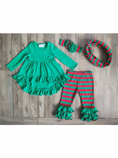 Serendipity Green Ruffle Three Piece Set