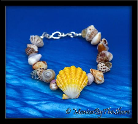 """Beach Candy"" Sunrise Shell, Seashells & Gemstones Bracelet"