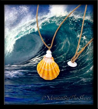 Big Country Sunrise Shell and Puka Shells Natural Cord Necklace