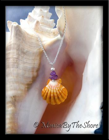 Bright Golden Hawaiian Sunrise Shell, Amethyst and Pearl Necklace