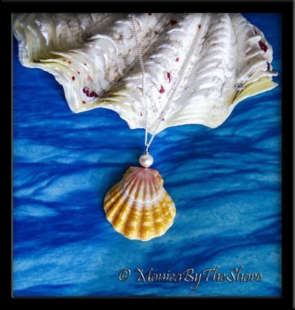 Classic Soft Pink and Yellow Hawaiian Sunrise Shell and Pearl Silver Necklace