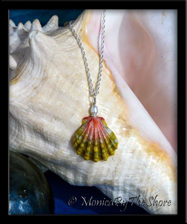 """""""Country Blend"""" Pink and Green Hawaiian Sunrise Shell Silver Necklace"""