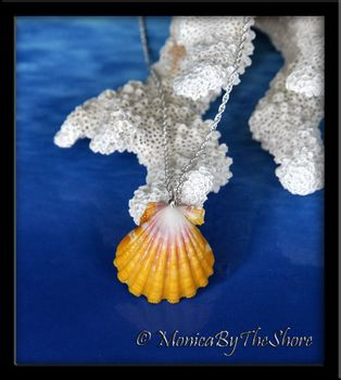Crisp Pink White and Yellow Hawaiian Sunrise Shell Silver Rope Chain Necklace