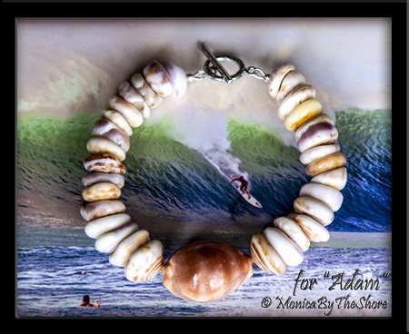 "Custom for ""Adam"" Chunky North Shore Puka Shell and Cowrie Bracelet"