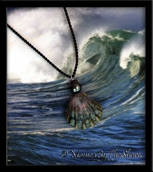 Dark Hawaiian Moonrise Shell with Tahian Black Pearl Cord Necklace