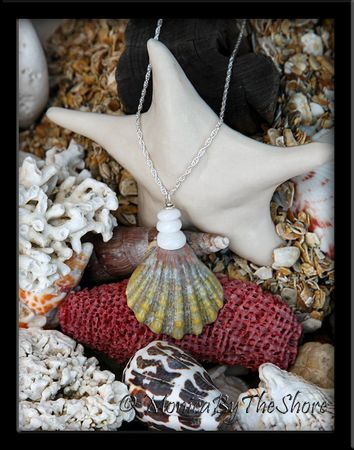 """Green with Pink Hawaiian Sunrise """"Moonrise"""" Shell and Puka Shells Necklace"""