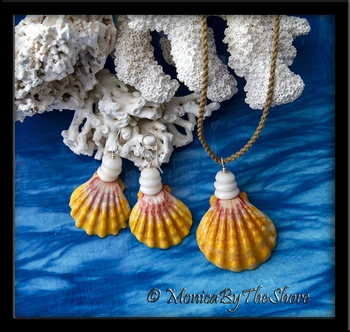 Hawaiian Sunrise Shell and Puka Shells Necklace & Earrings Set