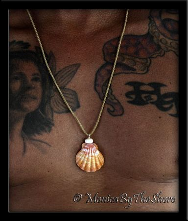Jumbo Hawaiian Sunrise Shell and Puka Shell Cord Necklace