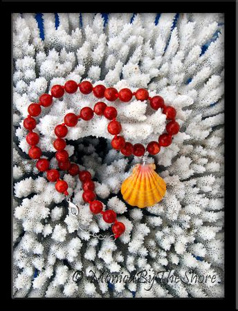 Jumbo Hawaiian Sunrise Shell on Knotted Strand of Red Coral Beads Necklace