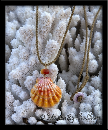 Papaya Colored Hawaiian Sunrise Shell and Soapstone Bead Twisted Cord Necklace