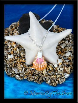Petite Orange, Pink & White Sunrise Shell & Puka Shells Necklace
