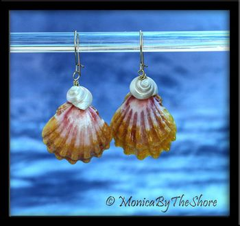 Pink and Yellow Hawaiian Sunrise Shell and Trochus Shells Gold Earrings