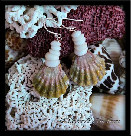 "Pink and Green Sunrise ""Moonrise"" Shell and Puka Shells Earrings"