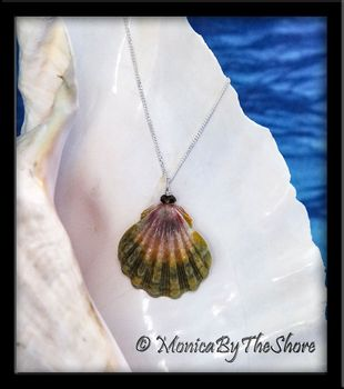 Rainbow Moonrise Shell Tourmaline Gemstone Necklace