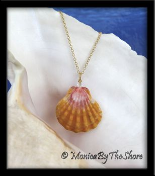 Large Classic Bright Pink and Yellow Hawaiian Sunrise Shell Swarovski Crystal Gold Necklace