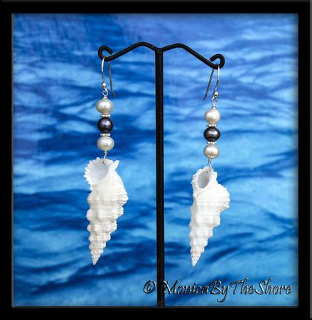 Pure White Seashells & Black & White Pearl Earrings