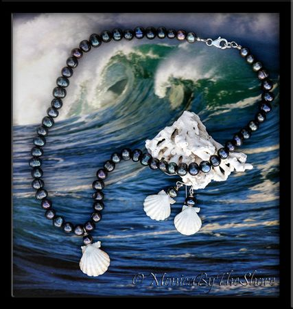 Rare Albino White Sunrise Shell and Black Pearl Necklace and Earrings Set