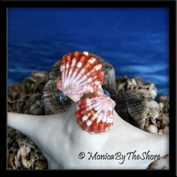 Rare Red Hawaiian Sunrise Shells Double Wrap Around Sterling Silver Ring