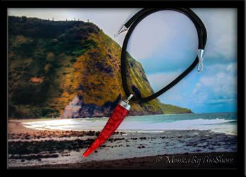 Polished Red Coral Horn on Rolled Italian Black Leather Necklace
