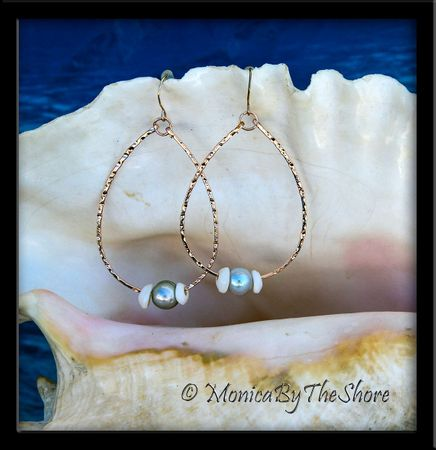 Silver Pearl and Puka Shells Hammered Hoop Earrings