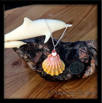 Soft Pink and Yellow Hawaiian Sunrise Shell Kahealani Shells and Puka Shell Silver Necklace