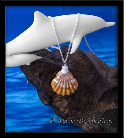 """Town & Country"" Style Hawaiian Sunrise Shell & Puka Shells Necklace"