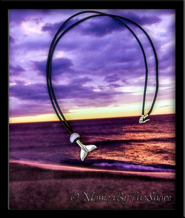 Sterling Silver Humpback Whale Tail and Purple Puka Shell Leather Necklace