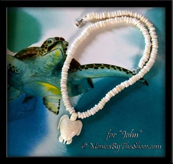 Custom for Debbie Carved Bone Sea Turtle and Puka Shell Necklace