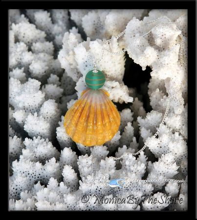 Yellow Sunrise Shell with Turquoise Glass Bead Silver Necklace