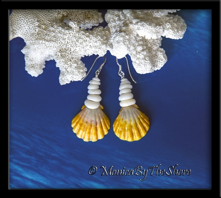 Yellow & White Hawaiian Sunrise Shell & Puka Shells Earrings