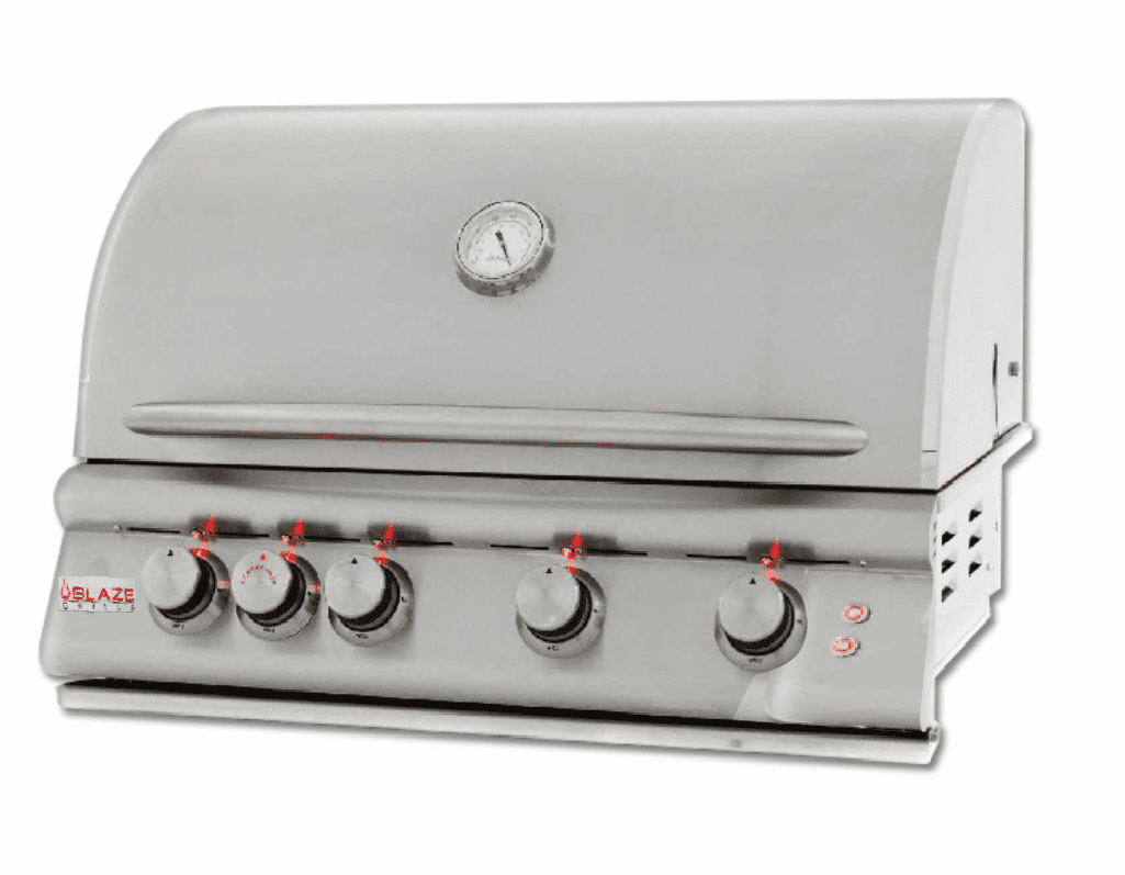 "4 Burner 32"" Built in Grill W/Lights Propane Gas BLZ-4LTE-LP"