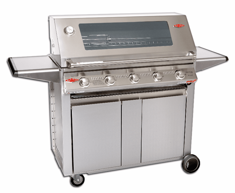 Beefeater 19350 5 Burner Grill w/ 23650 Designer Cart Stainless