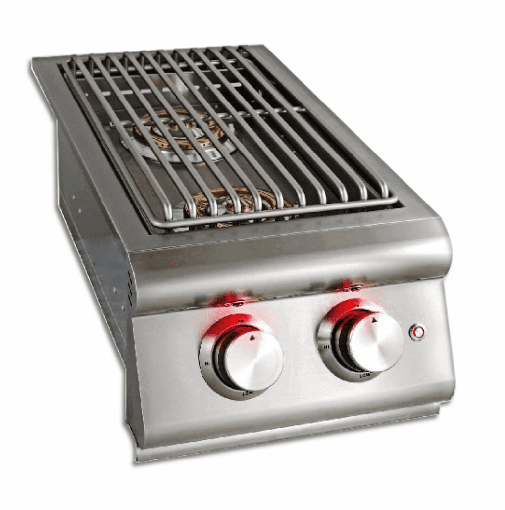 Blaze Double Side Burner Built in with Lights and Lid L.P. BLZ-SB2LTE-LP
