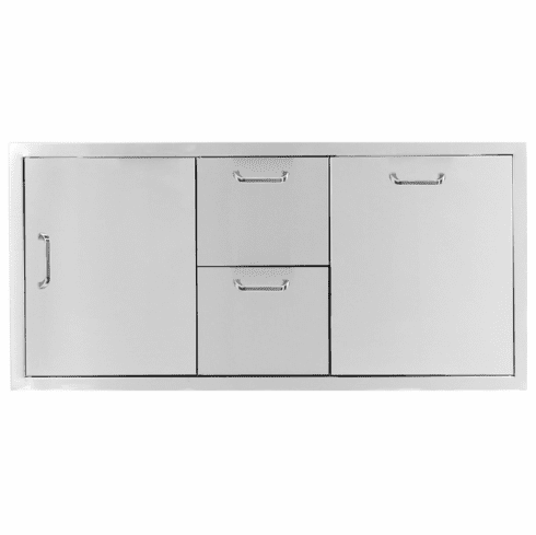 PCM 260 Series BBQ Unit - 42 Inch Door, Double Drawer & Propane Rollout on Right