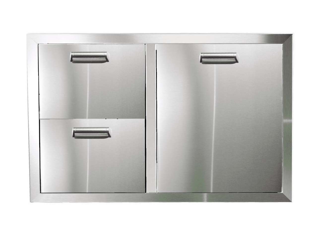 PCM 350H Series BBQ Unit - 32 Inch Double Drawer with Propane Rollout on Right