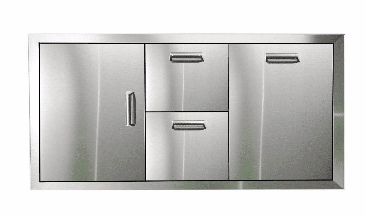 PCM 350H Series BBQ Unit - 42 Inch Door, Double Drawer & Propane Rollout on Right