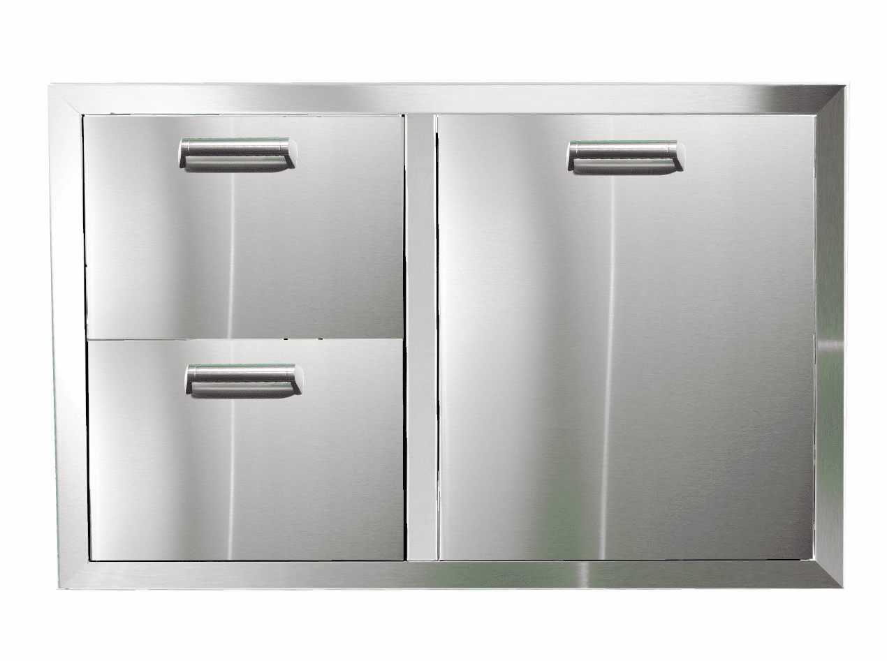 PCM 350H Series BBQ Unit - 32 Inch Double Drawer with Trash Rollout on Right