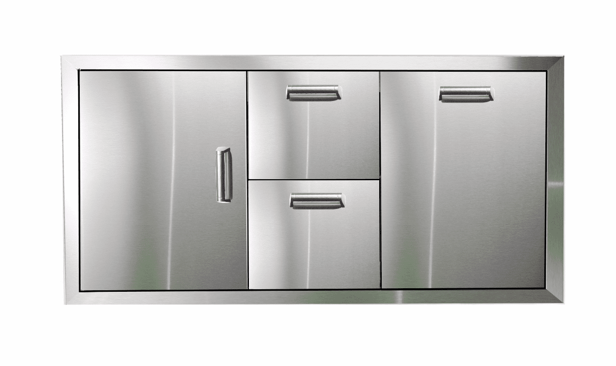 PCM 350H Series BBQ Unit - 42 Inch Door, Double Drawer & Trash Rollout on Right