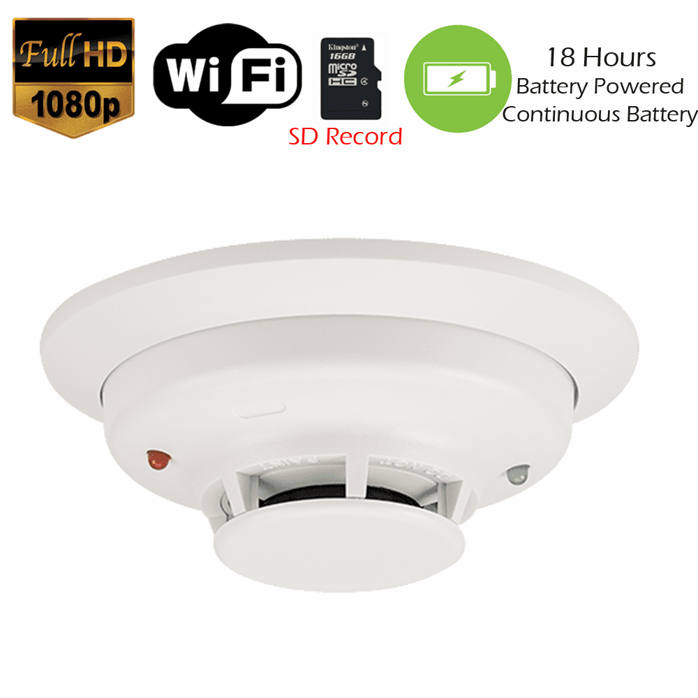 1080P WiFi Commercial Grade Smoke Detector Fire Alarm Spy Camera  (Battery Powered)