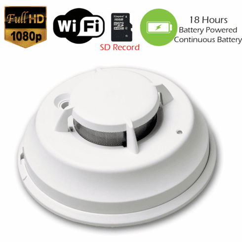 1080P WiFi Commercial Grade Smoke Detector Fire Alarm Spy Camera (18 Hour Battery)