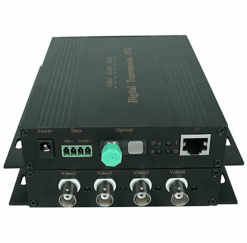 4 channel video and 1 channel reversed 485 and 1 channel 10/100 ethernet data laser fiber optical transmitter and receiver