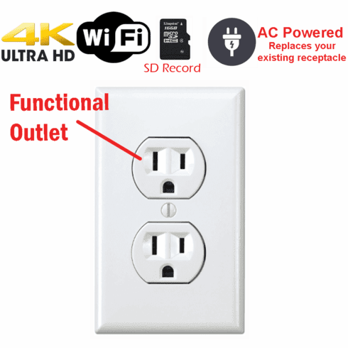 Battery Powered Outlet >> 4k Battery Powered Functional Receptacle Outlet Spy Camera